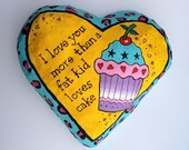 Quirky, funny, handmade, papier mache heart wall hanging