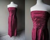 Vintage SAKS FIFTH AVENUE Strapless Dress- Wine Dress - Gown- Large