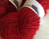 Sari Silk Yarn, 50 grams, ruby red, ethical yarn, Eco Friendly Yarn, knitting yarn, jewelry making, unique yarn for crafts