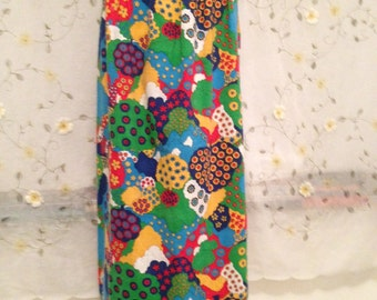 SMALL, Psychedelic Hippie Beatles Type Cotton Fabric Maxi Skirt