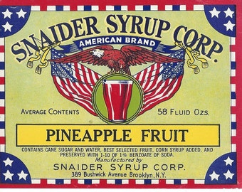 Snaider Syrup Corp. Pineapple Fruit Syrup Vintage Label, 1930s