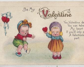 "Antique  ""Be My Valentine"" Postcard, 1910s"