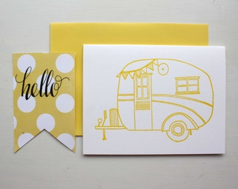 Letterpress Caravan Card Vintage Campervan Card