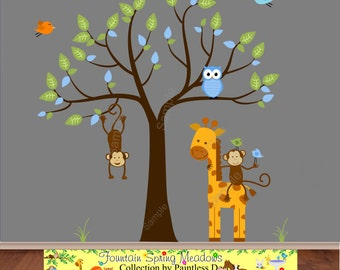 Wall Decal Safari, Giraffe, Monkey, Owl, Baby Nursery Ideas, Jungle Zoo Nursery, Jungle Animal Playroom, Baby Wall Art Sticker - s25u