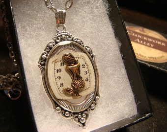 Mermaid  Over Recycled Watch Face Steampunk Pendant Necklace  - Upcycled Jewelry (1895)