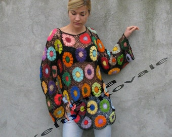 100% Cotton Handcrocheted Tunic / Sweater with colorful floral details - Black background - M/L/XL/extra long sleeves