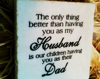 Husband/Dad Stone Plaque With Stand