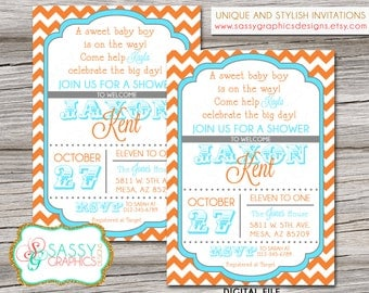 Boys Baby Shower Invitation with chevron stripes in orange, blue, and gray. Printable, digital file (#85)