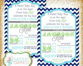 Boy Baby Shower Invite, Baby Shower invitation, digital invite, chevron shower invite, PDF invite, DIY invite, navy blue, green (Item #56)