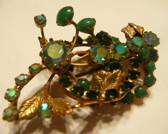 Green and Gold Antique Brooch