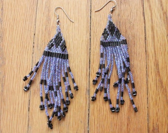 Vintage 80's Handmade Lavender and Black Native Beaded Fringe Earrings