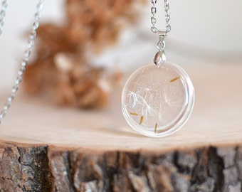Mothers day gift  Dandelion necklace -resin jewelry, make a wish botanical necklace, gift under 35,