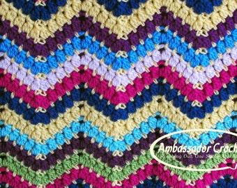 Crochet Pattern Cluster Ripple Scrap Afghan PDF 201
