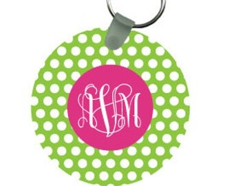 POLKA DOT keychain - clover pattern with monogram