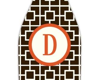 SQUARES personalized monogram bottle beverage insulator - zippered back for longnecks - weddings, bachelorette, parties, beaches