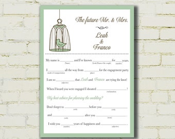 ENGAGEMENT party mad libs - Bird Cage - PDF