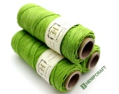 Green Hemp Twine, Sub-Lime, High Quality Hemp Jewelry Cord, 1mm - 205ft