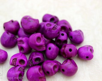 Skull Beads, Tiny Purple Day of the Dead Stone Beads, Halloween Beads, 24pc 9x8mm