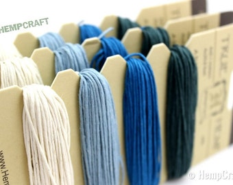 Hemp Twine, Aquamarine Color Card - High Quality 20lb 1mm Four Pack Craft Cord