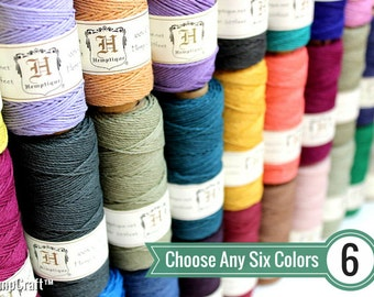 1mm Hemp Twine, 6 Spool Deal, Choose Your Colors, Polished Hemp Craft Cord