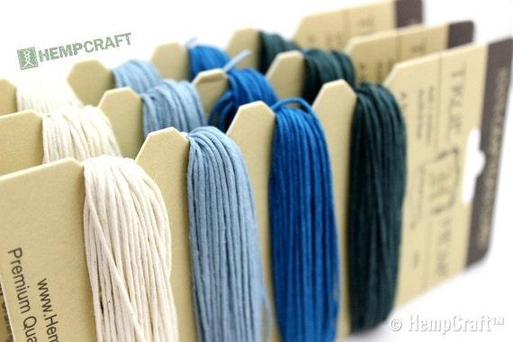 Hemp Twine, Aquamarine Color Card - High Quality 20lb 1mm Four Pack Craft Cord