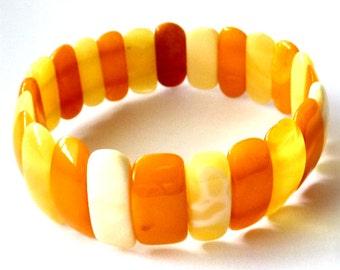 """Baltic Amber Butterscotch Bracelet Natural Yolk Antique 7.5"""" 12.6 gram"""