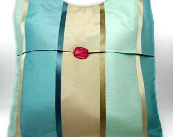Green Pink Button Gold Bag Shoulder Strap Magnetic Snap Silver Medium Striped