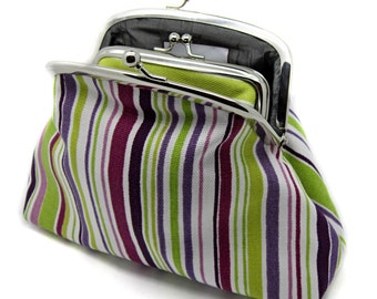 Striped Clutch Coin Purse Wallet Wine Pink White Purple Lime Green Grey Silk Double Frame Metal Pocket Kiss Lock
