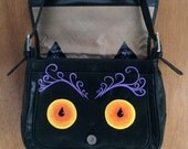 Angryslashhappy Cat: Upcycled hand painted black leather purse