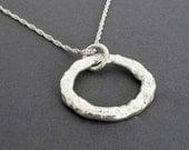 Sterling Silver Circle Pendant, Rustic Circle Pendant, Silver Circle Necklace, Metalwork Pendant, Handmade Silver Necklace, Made in Montana