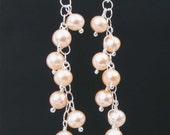Peach Pearl Earrings in Sterling Silver, Peach Freshwater Pearls, Pearl and Silver Earrings, June Birthstone Dangle Earrings, Natural Pearls