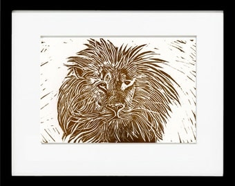 King of the Cats, Lion, Original Linoleum Block Print