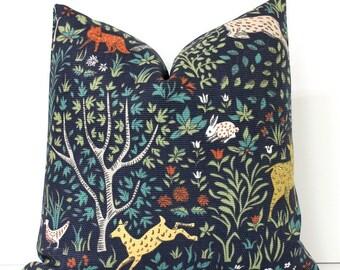 Flora and Fauna Decorative Designer Pillow Cover Accent gold green orange teal red bird fox goat deer rabbit navy blue animals floral nature
