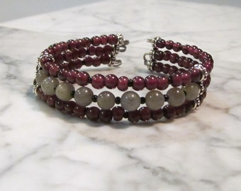 Love and Protection - Three Strand Garnet and Labradorite Healing Stone and Crystal Base Root Chakra Cuff Bracelet