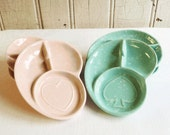 Six Vintage Shawnee Coaster Ashtrays - 3 Turquoise and 3 Pink Speckled - Card Suits Spades and Hearts - Mid-Century 1960s