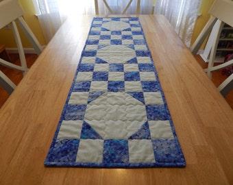 Blue Floral Nine Patch Table Runner