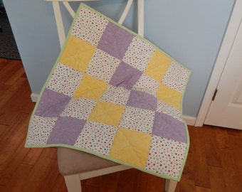 Rainbow Stars Purple Yellow Flannel Crib Quilt