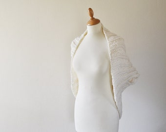 Chunky Knit Shrug -  Off White Shrug - Bridal Shrug - Short Sleeved Jacket - Pure Wool