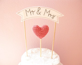 Mr and Mrs Cake Topper with Wedding Cake Banner Sign