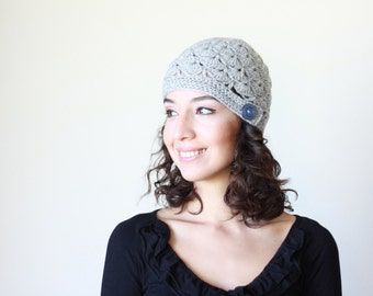 Grey Women crochet beanie hat, Winter hat for Women, shell hat, Women shell beanie, Winter crochet hat womens, crochet hat