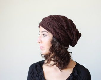 Brown womens hat, women slouchy beanie, Brown winter hat, slouchy knit hat, slouchy beanie hat, Brown slouchy hat