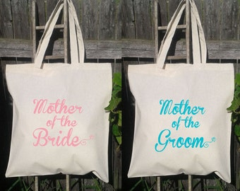 Mother of the Bride & Mother of the Groom Set- Wedding Tote Bags