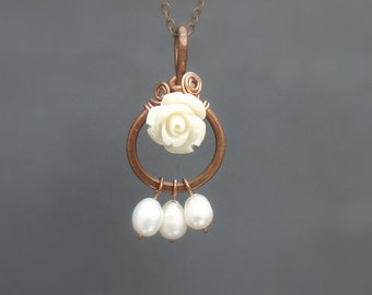 Rose necklace, botanical copper pendant, cream white resin rose and pearl jewelry