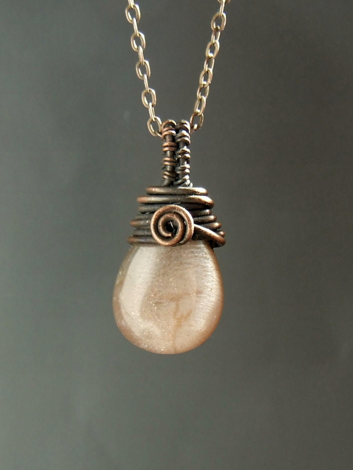 Real moonstone necklace peach moonstone jewelry drop