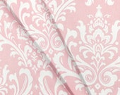 Window Panels Drapes Pink White Ozbourne damask