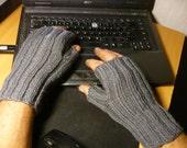 SALE!!!Fingerless Gloves Men's Handknit  Grey Wool  Handknit Fingerless Handwarmers Texting Gloves  Blue Wool  Men's Gloves
