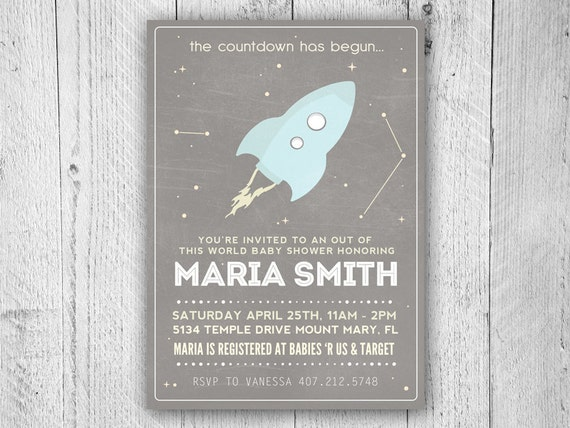 Outer space baby shower invitation space baby shower for Space themed stationery