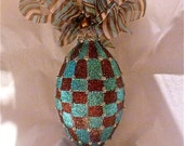 Checkerboard Glass Ornament