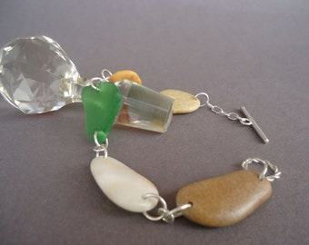 Beach Pebble Bracelet with Sterling Silver