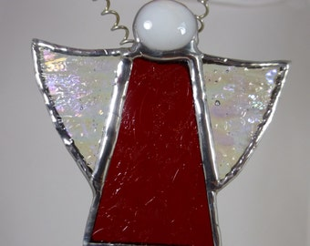 Stained Glass Christmas Angel with ruby red dress